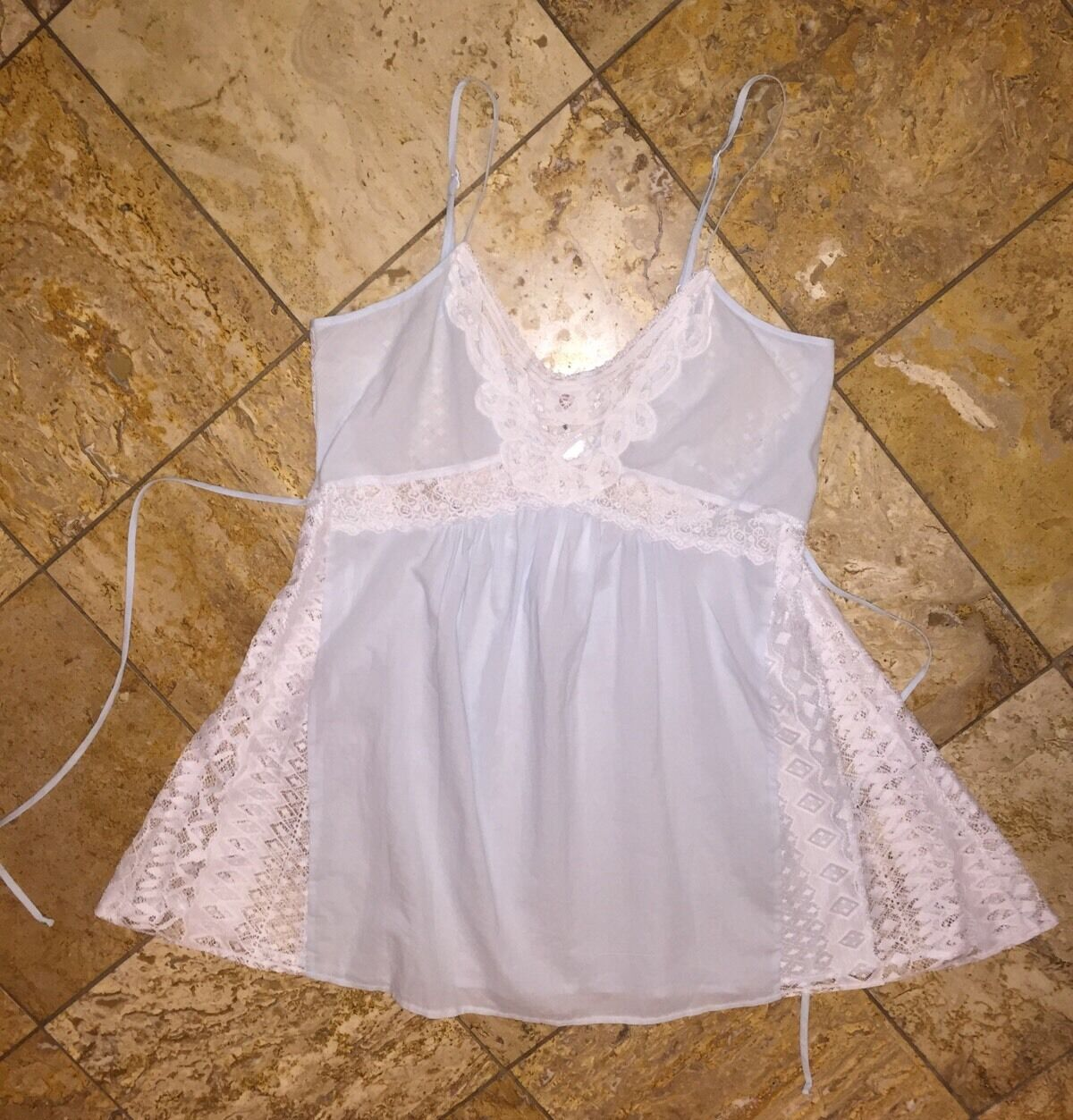 NWT  In Bloom by Jonquil bluee Crochet Babydoll Chemise Dress Pajamas Womens L