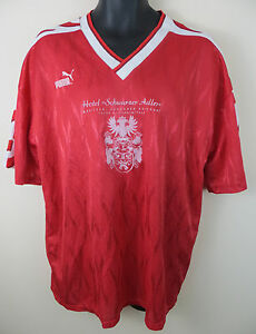 fe427a42a0a Vtg PUMA 90s Football Shirt Retro Soccer Jersey Red German Trikot ...