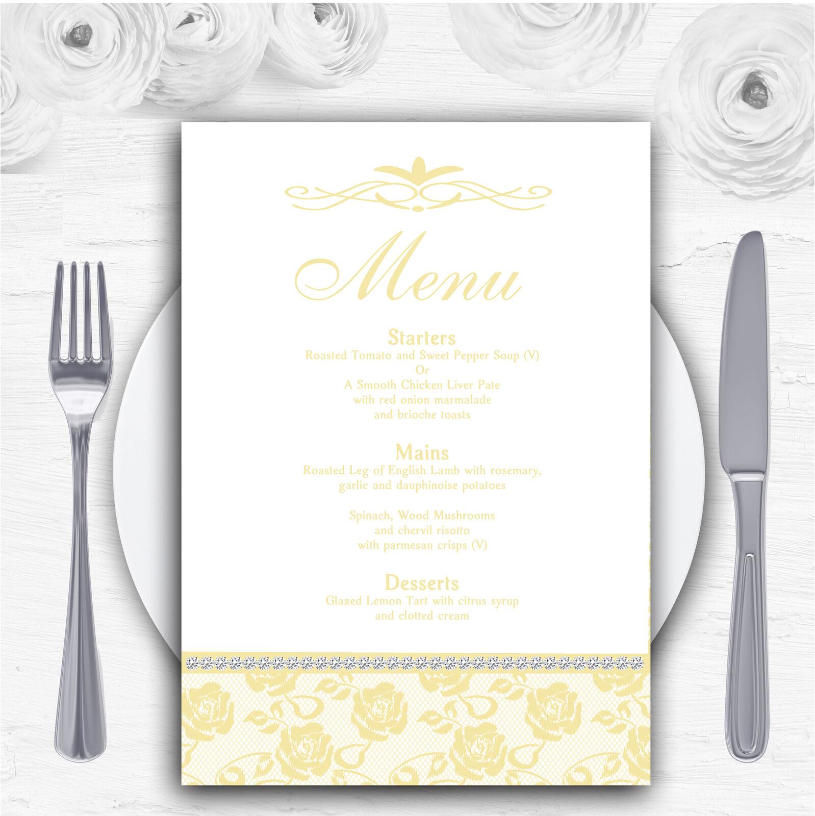 Pretty Pale Gelb Floral Diamante Personalised Wedding Menu Cards