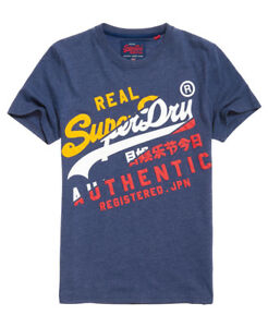 New-Mens-Superdry-Vintage-Authentic-T-Shirt-Princeton-Blue-Marl