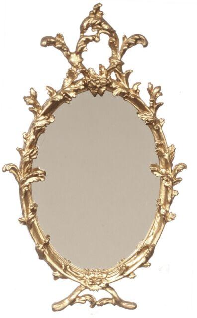 Dolls House Miniatures Wall Mirror Decor Mahogany Framed Mirror