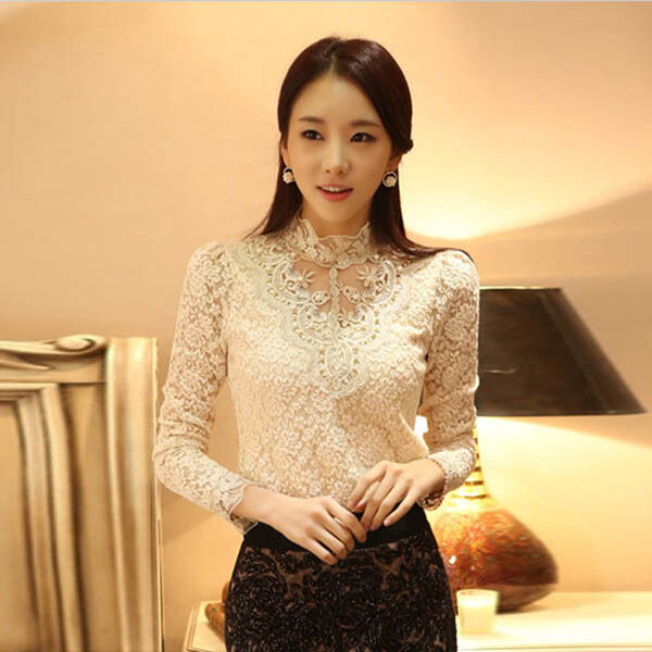 New Women Turtle Neck Floral Lace Pullover Tops Blouse Long sleeve Sweater S-XXL