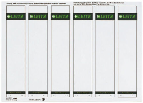 auf A4 Papier 150x Leitz PC-beschriftbare Rückenschilder 1686 schmal kurz