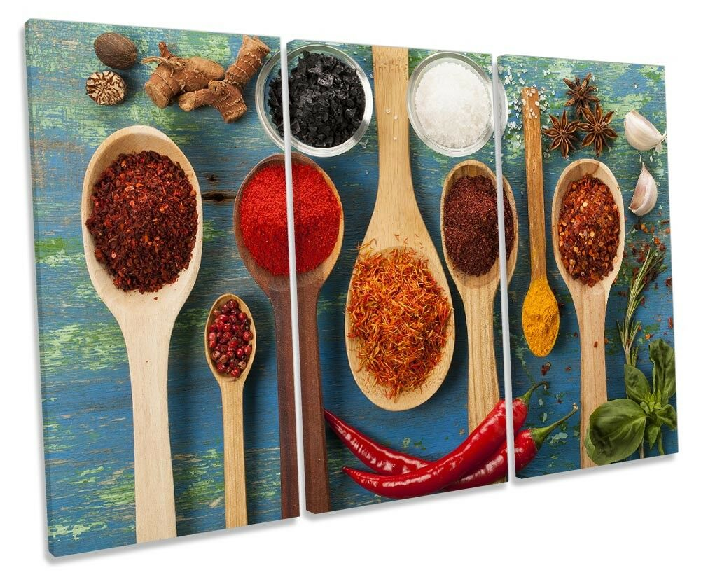 Wooden Spoons Kitchen Picture TREBLE CANVAS WALL ART Print