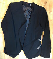 Fylo Dressy Blazer Jacket Faux Zipper Pockets, Black, Size Xl.