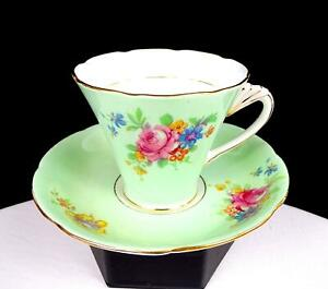 """ABJ CRAFTON CHINA ENGLAND ROSE BOUQUET GREEN GOLD TRIM 3"""" CUP AND SAUCER 1935"""