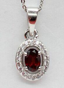 Edler-0-7-Carat-Granat-Annhaenger-925-Silber-Collier-Kette-Blutroter-Edelstein