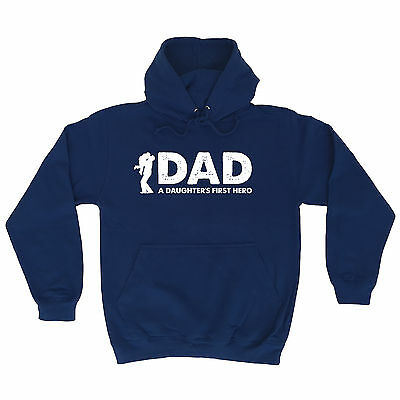 Dad A Daughters First Hero Hoodie Hoody Birthday Gift Fashion Dad Father Husband