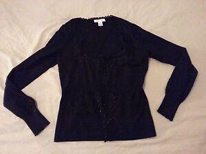 Womens White House Black Market Silk Sweater Jacket M Medium Black