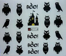 Nail Art Water Decals Stickers Halloween Scary House Owl Boo Gel Polish (A114)