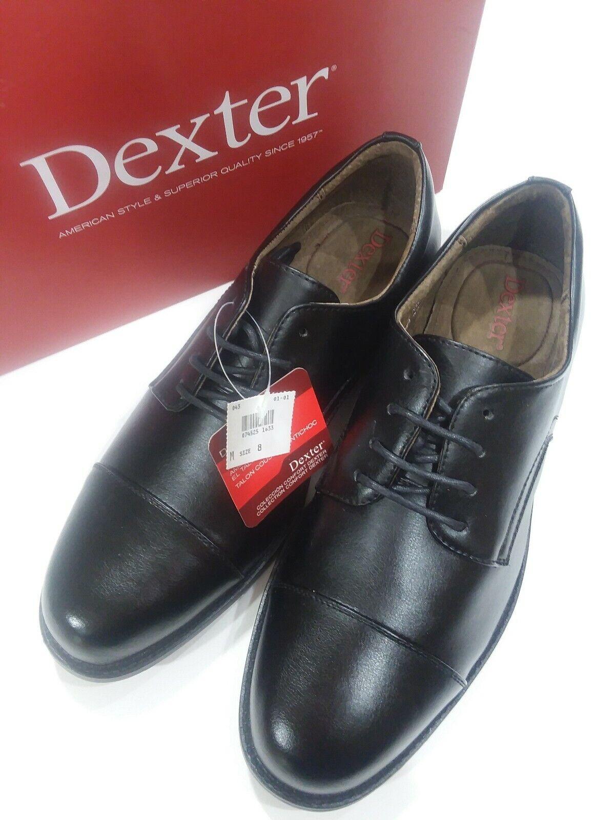 Dexter Mens Black Leather Oxfords Cap