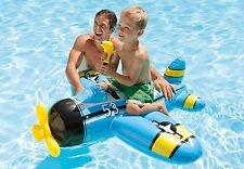 BLUE Plane With Water Gun Inflatable Kids Ride On Swimming Pool Beach Toy 7537NP