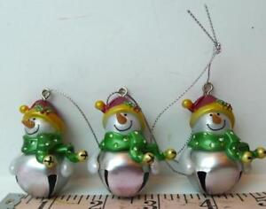 Blank-Jingle-Bell-Snowman-Ornaments-Lot-of-3-Ganz