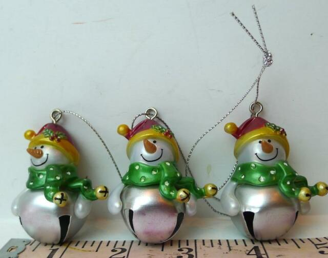 Blank Jingle Bell Ganz Snowman Ornaments Lot of Three