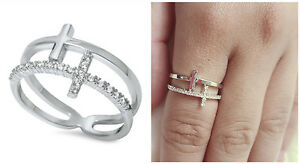 Sterling-Silver-925-DOUBLE-SIDEWAY-CROSS-DESIGN-PLAIN-amp-CLEAR-CZ-RING-SIZES-4-12