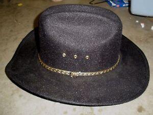 af76598af70 NEW Western Express Black Faux Felt Cowboy Hat - Pinch Front - Size ...
