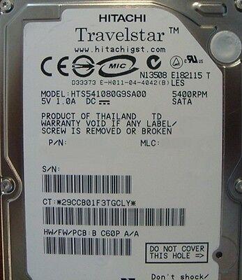 5400RPM 80GB SATA 2.5 HDD 1.5Gp//s Hitachi HTS541680J9SA00