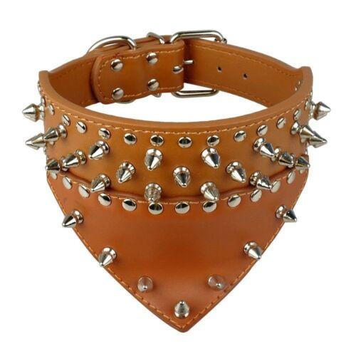 New Bandana Scarf Dog Collar Spiked Studded PU Leather Large Breeds Bully