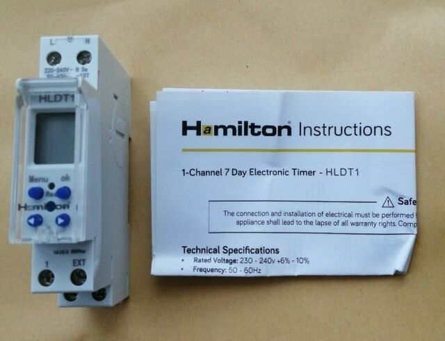 2 Channel 24 Hours 7 Day Timer 16A Amp 2 Pole DIN Rail Mount Digital Time Clock