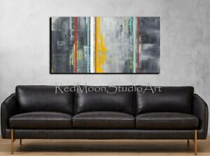 48x24-Abstract-Art-Gray-Yellow-Black-Red-Turquoise-US-Artist