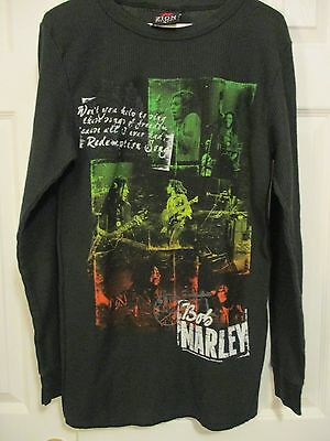 Zion Rootswear Bob Marley Redemption Song L Black Long Sleeve Thermal Top Shirt
