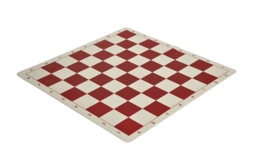 """2.25/"""" Squares Red /& Natural Regulation Silicone Tournament Chess Board"""