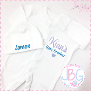 Baby Clothes,Little Brother Embroidered Personalised Baby Sleepsuit and hat set