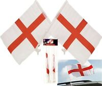 """England St Georges Cross Window Car Flag Banner 15"""" X 10"""" Twin Pack UK SELLER"""
