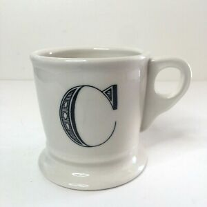 Anthropologie Monogram Letter C White Shaving Style Coffee Mug Cup Black Initial