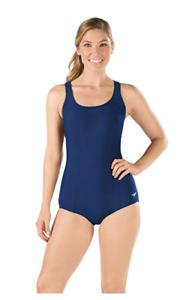 Speedo-Women-039-s-Powerflex-Conservative-Ultraback-One-Piece-Swimsuit-16-Navy-NEW
