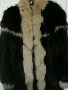 FOX-FUR-JACKET-BLACK-AND-CAMELCOLOR-MADE-IN-GREECE-SIZE-14