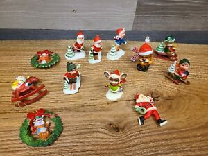 Christmas Ornaments Made in Hong Kong Vintage Plastic lot of 12