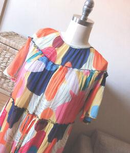🌈 NEW  Exclusive Gorman x Katie Eraser Printed Tiered Maxi Long Dress 1214/16🌈