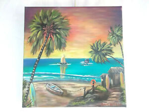 Original-Acrylic-Painting-Tropical-Surf-Shack-12X12-Stretched-Canvas-Boat-Art