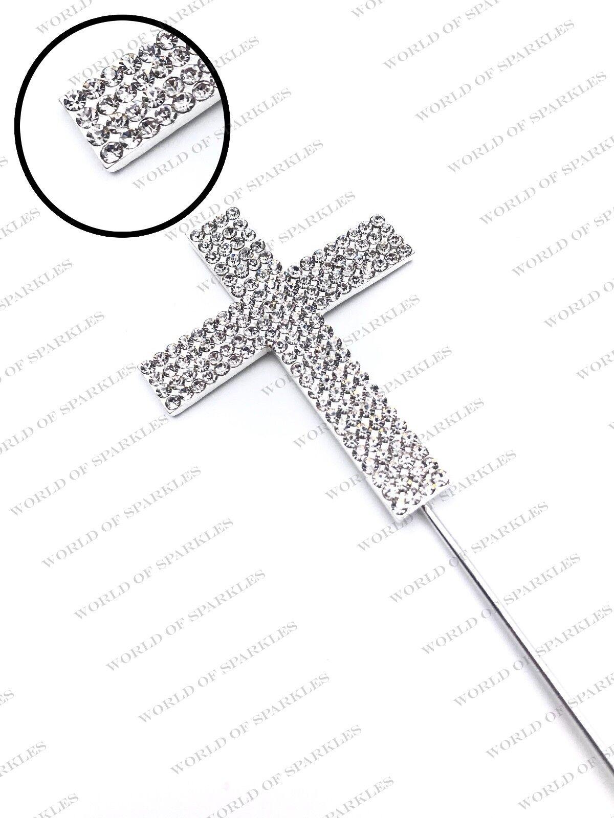 Heart Burst Diamante Cross Cake Topper Christening First Holy Communion