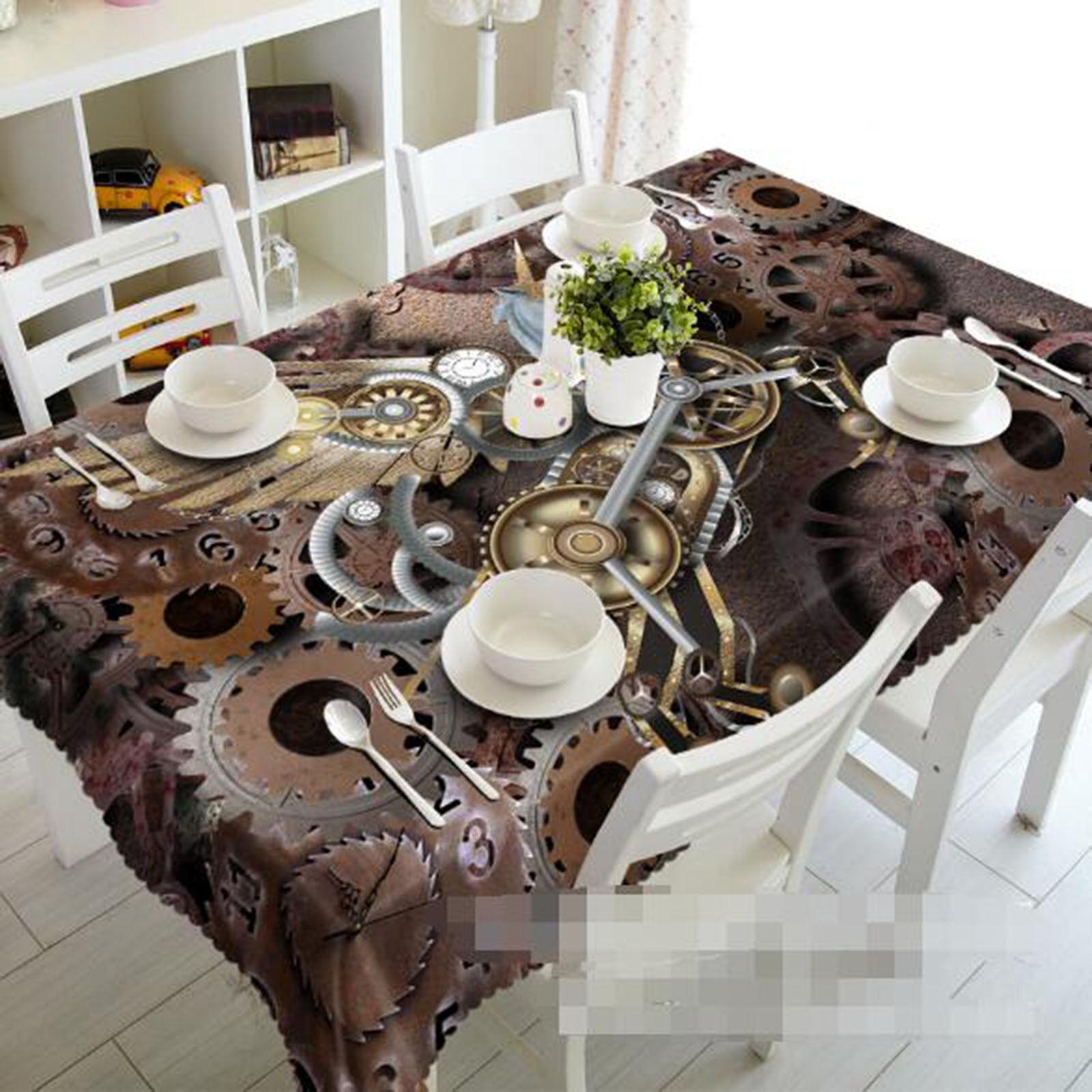 3D Gearwheel Tablecloth Table Cover Cloth Birthday Party AJ WALLPAPER UK Lemon