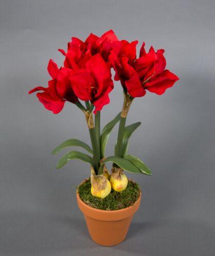 Amaryllis mit Zwiebeln 36cm rot im Topf NT künstliche Blumen Kunstpflanzen