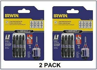 Number 2 Phillips IRWIN 1903513 Impact Performance Series Double-Ended Screwdriver Power Bit Set with Magnetic Screw Hold 2 3//8-Inch 4-Piece