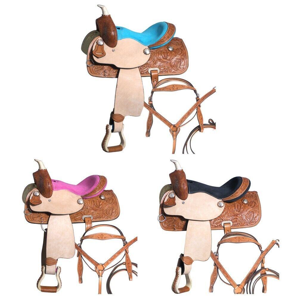 U-9-MX 10  12  13  Niños Jóvenes Niño Pony Horse Saddle occidental de cuero