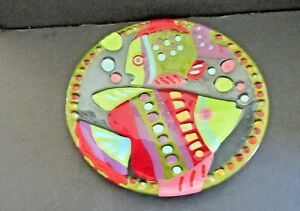Lori-Siebert-Colorful-Fused-Glass-11-5-034-Plate-FISH-FISHES-Marine-Silvestri
