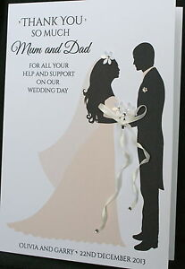 Large A5 Handmade Personalised Thank You Card Parents Bridesmaid