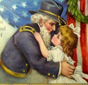 Decoration Day Civil War Soldier USA General Hugs Child Postcard Ser 150 Gabriel