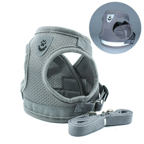 Reflective Dog Harness Vest Adjustable Pet Walking Lead LeashSilver Grey XL #ur