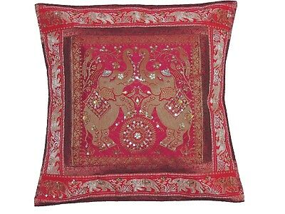 Decorative Cotton Elephant 16 x 16 Gold Thread Embroidered Throw Pillow Cover