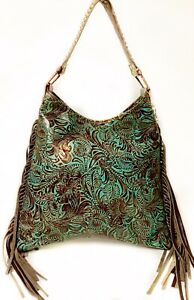 Raviani-Hobo-Style-Bag-Brown-amp-TQ-Western-Tooled-Leather-W-Fringe-MADE-IN-USA