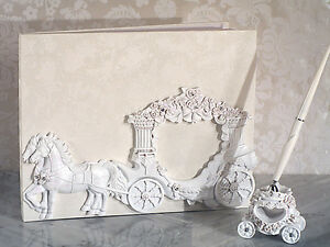 Image Is Loading White Cinderella Enchanted Royal Carriage Wedding Guest Book