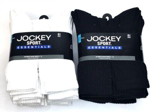 Mens Jockey Cotton Crew Athletic Sock  8-Pack Cushion Sock Size 10-13 White NEW