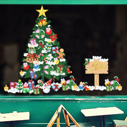 Christmas Tree Art Vinyl Letter Shop Windows Wall Stickers Decal Home Decor LH