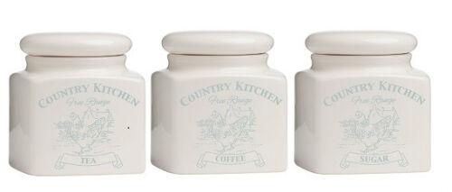 Pays de cuisine Crème Dolomite pots de stockage de denrées alimentaires NEUF