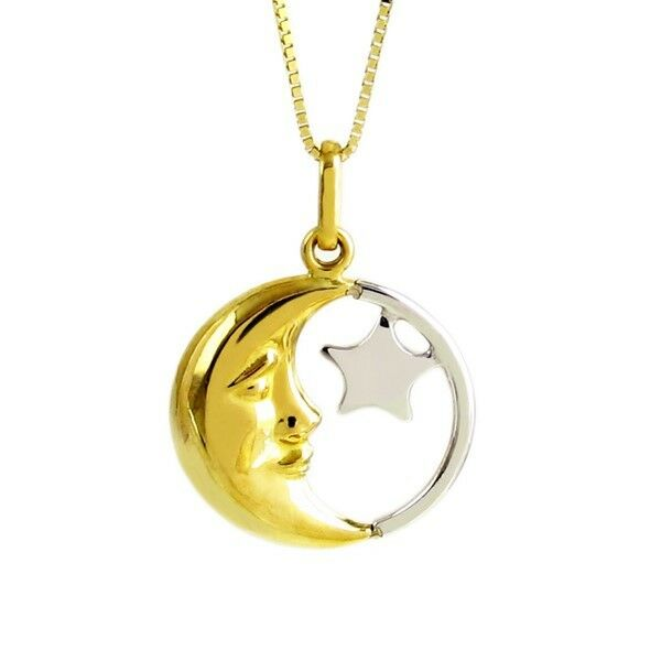 14k Two-Tone Yellow Gold Half Moon And Star Inside Round Pendant